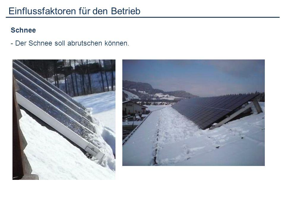 Einflussfaktoren für den Betrieb Schnee - Der Schnee soll abrutschen können.