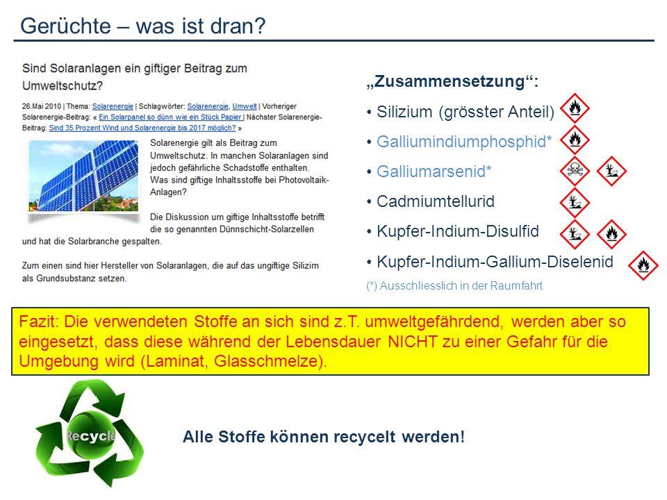 Leistung und Leistungskontrolle Jede Anlage hat zwei Leistungsangaben: - Leistung in kWp - Jahresertrag in kWh