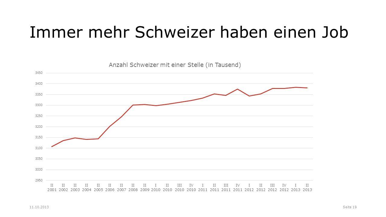 Immer mehr Schweizer haben einen Job Seite 1911.10.2013