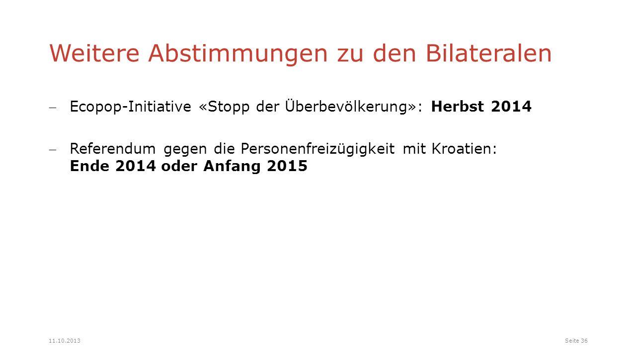 Weitere Abstimmungen zu den Bilateralen Ecopop-Initiative «Stopp der Überbevölkerung»: Herbst 2014 Referendum gegen die Personenfreizügigkeit mit Kroatien: Ende 2014 oder Anfang 2015 Seite 3611.10.2013