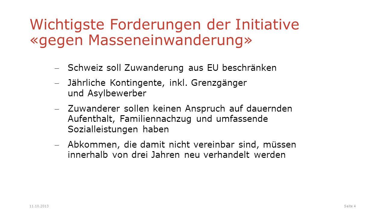 Schweiz soll Zuwanderung aus EU beschränken Jährliche Kontingente, inkl.