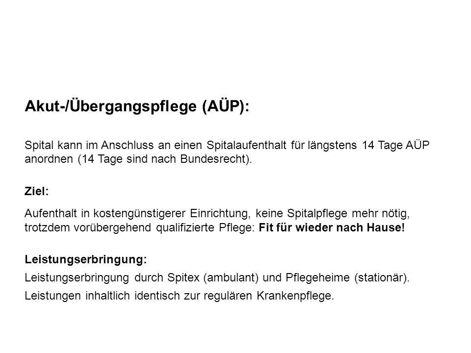 Akut-/Übergangspflege (AÜP): Spital kann im Anschluss an einen Spitalaufenthalt für längstens 14 Tage AÜP anordnen (14 Tage sind nach Bundesrecht). Zi