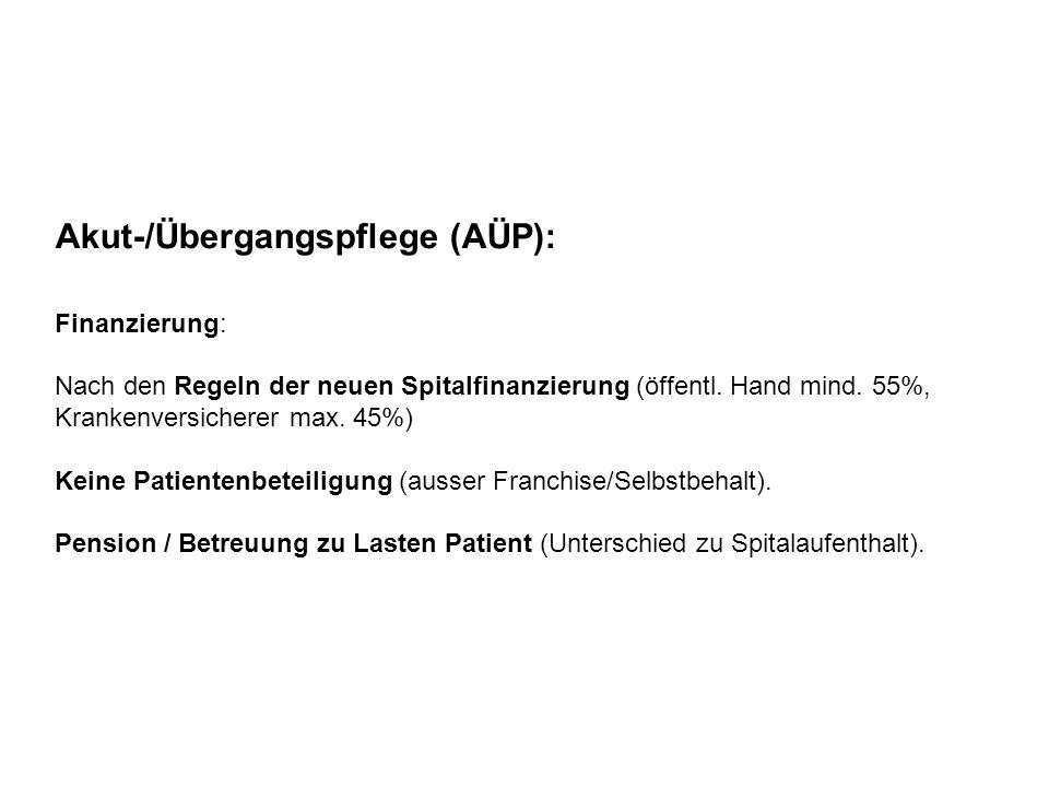 Akut-/Übergangspflege (AÜP): Finanzierung: Nach den Regeln der neuen Spitalfinanzierung (öffentl. Hand mind. 55%, Krankenversicherer max. 45%) Keine P