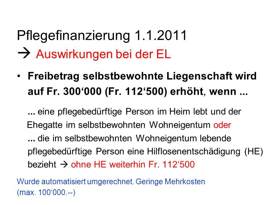 Pflegefinanzierung 1.1.2011 Auswirkungen bei der EL Freibetrag selbstbewohnte Liegenschaft wird auf Fr. 300000 (Fr. 112500) erhöht, wenn...... eine pf