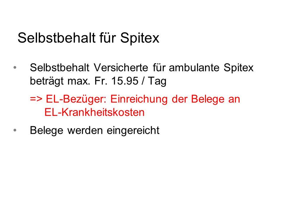 Selbstbehalt für Spitex Selbstbehalt Versicherte für ambulante Spitex beträgt max. Fr. 15.95 / Tag => EL-Bezüger: Einreichung der Belege an EL-Krankhe