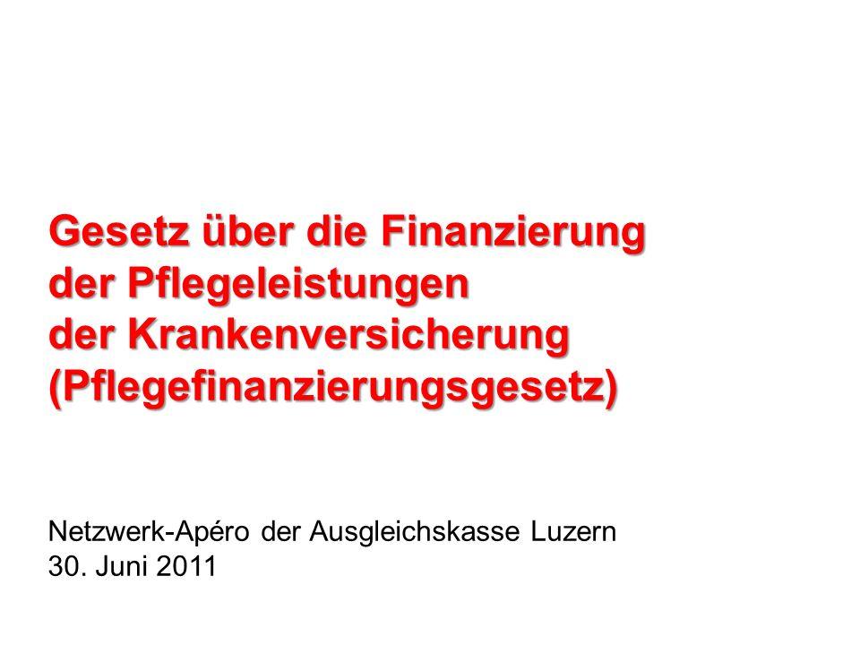 Gesetz über die Finanzierung der Pflegeleistungen der Krankenversicherung (Pflegefinanzierungsgesetz) Netzwerk-Apéro der Ausgleichskasse Luzern 30. Ju