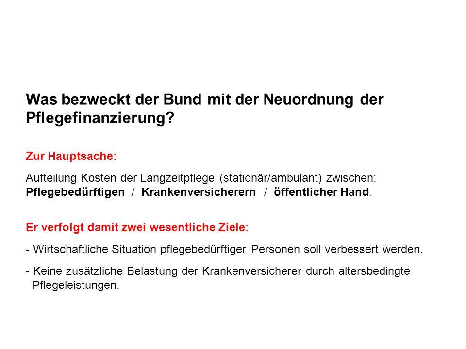 Was bezweckt der Bund mit der Neuordnung der Pflegefinanzierung? Zur Hauptsache: Aufteilung Kosten der Langzeitpflege (stationär/ambulant) zwischen: P