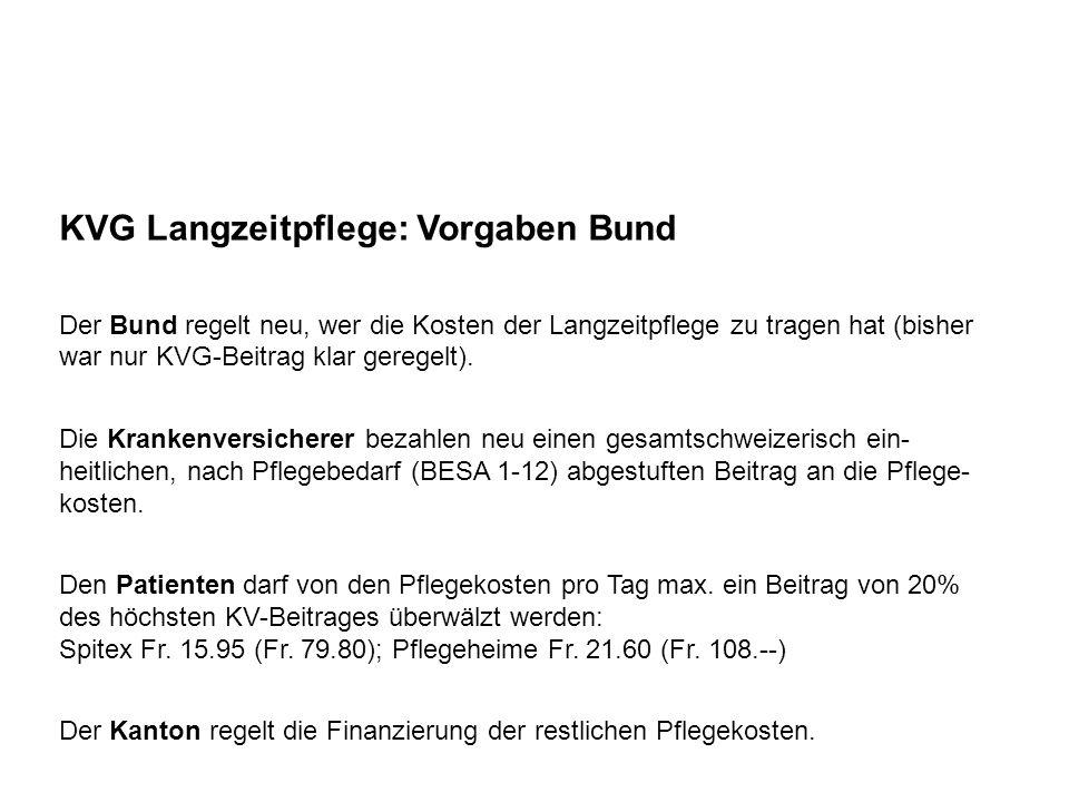 KVG Langzeitpflege: Vorgaben Bund Der Bund regelt neu, wer die Kosten der Langzeitpflege zu tragen hat (bisher war nur KVG-Beitrag klar geregelt). Die