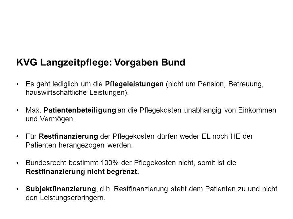 KVG Langzeitpflege: Vorgaben Bund Es geht lediglich um die Pflegeleistungen (nicht um Pension, Betreuung, hauswirtschaftliche Leistungen). Max. Patien