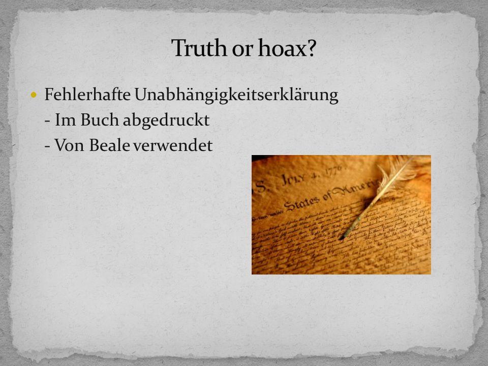 Fehlerhafte Unabhängigkeitserklärung - Im Buch abgedruckt - Von Beale verwendet