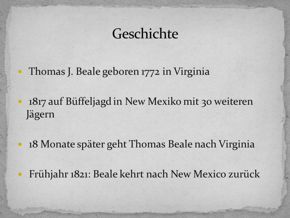 1823: Beale reist erneut nach Lynchburg mit einer Kiste wertvoller Papiere Mai 1823: Morris erhält Brief aus St.