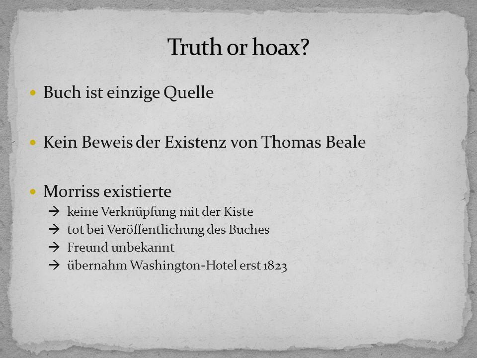 Buch ist einzige Quelle Kein Beweis der Existenz von Thomas Beale Morriss existierte keine Verknüpfung mit der Kiste tot bei Veröffentlichung des Buches Freund unbekannt übernahm Washington-Hotel erst 1823