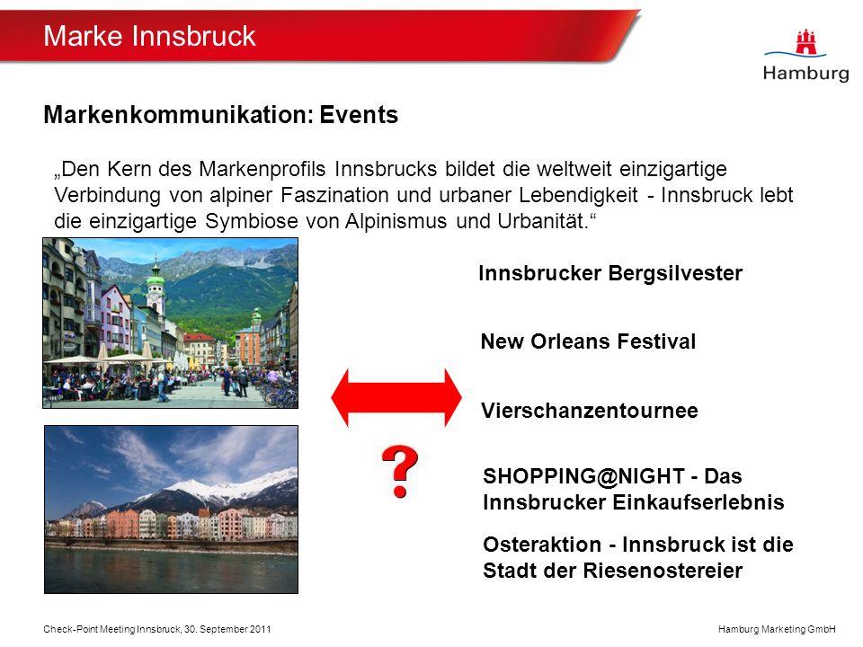 Hamburg Marketing GmbH Marke Innsbruck Markenkommunikation: Events Check-Point Meeting Innsbruck, 30.