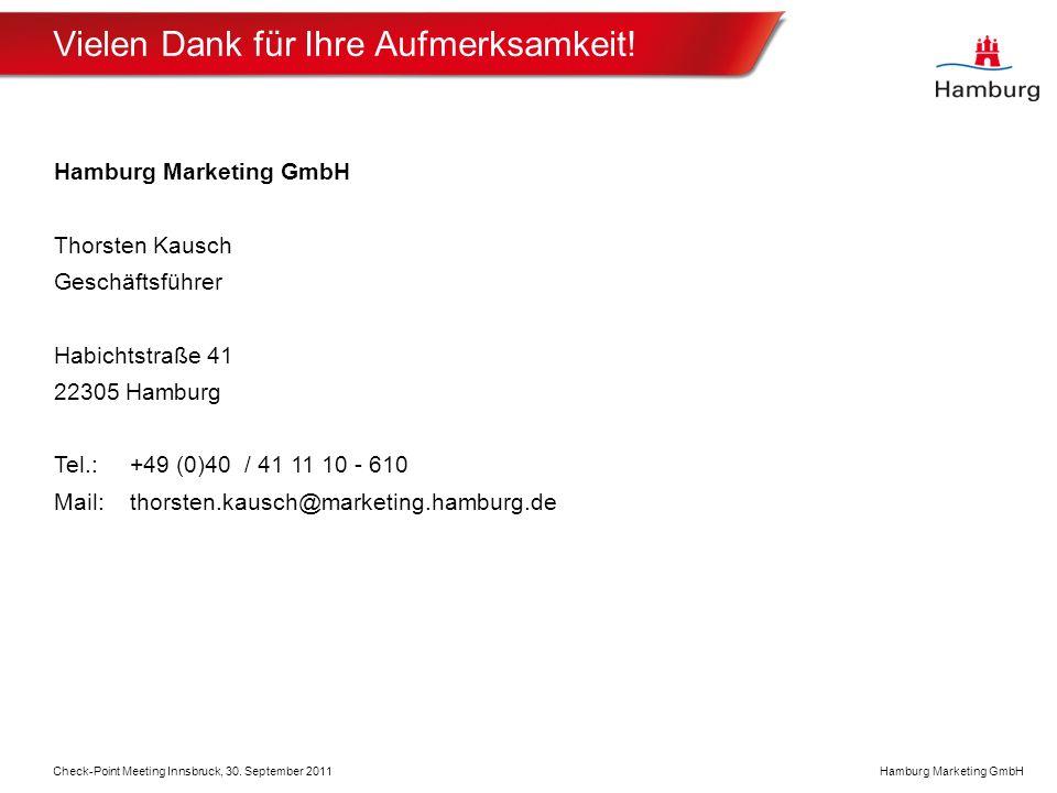 Hamburg Marketing GmbH Vielen Dank für Ihre Aufmerksamkeit.