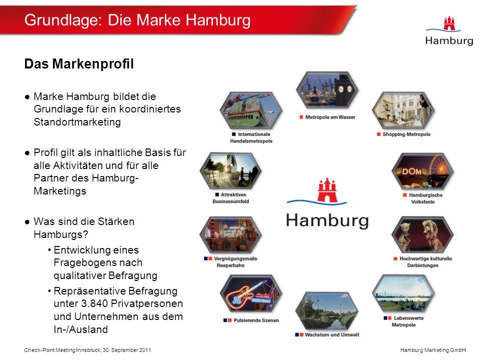 Hamburg Marketing GmbH Grundlage: Die Marke Hamburg Das Markenprofil Marke Hamburg bildet die Grundlage für ein koordiniertes Standortmarketing Profil gilt als inhaltliche Basis für alle Aktivitäten und für alle Partner des Hamburg- Marketings Was sind die Stärken Hamburgs.