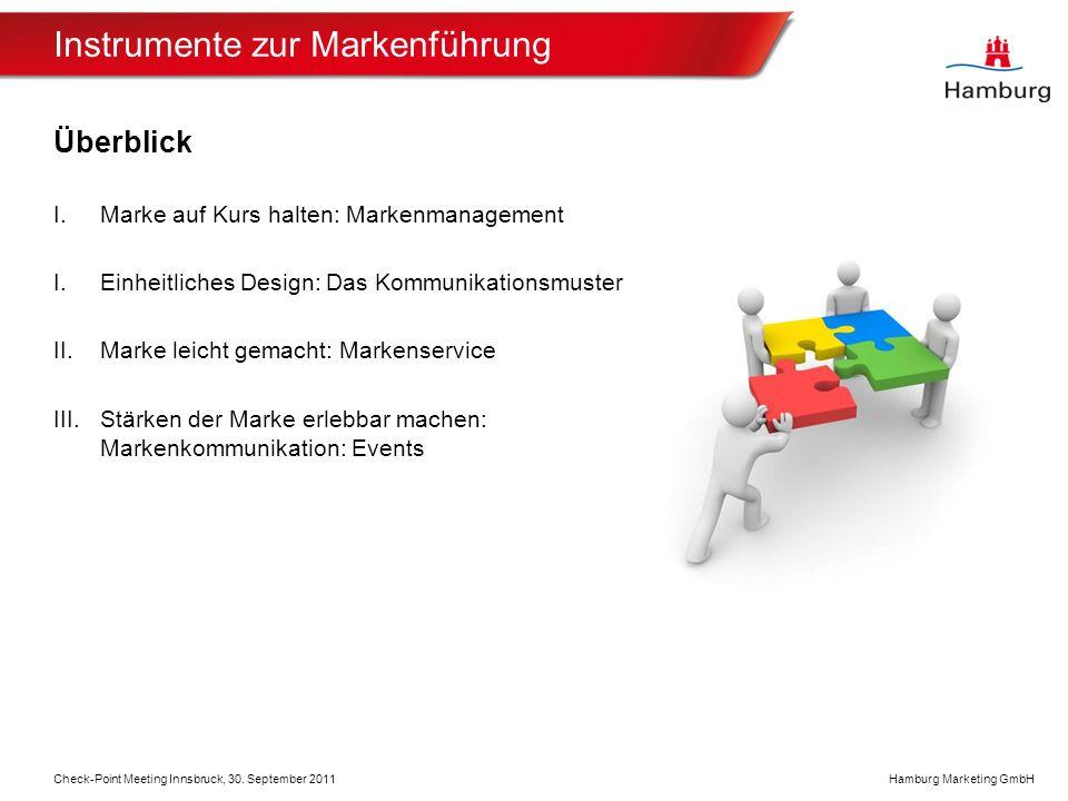 Hamburg Marketing GmbH Instrumente zur Markenführung Überblick I.Marke auf Kurs halten: Markenmanagement I.Einheitliches Design: Das Kommunikationsmuster II.Marke leicht gemacht: Markenservice III.Stärken der Marke erlebbar machen: Markenkommunikation: Events Check-Point Meeting Innsbruck, 30.
