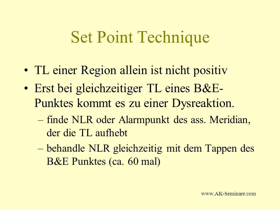 www.AK-Seminare.com Set Point Technique TL einer Region allein ist nicht positiv Erst bei gleichzeitiger TL eines B&E- Punktes kommt es zu einer Dysre