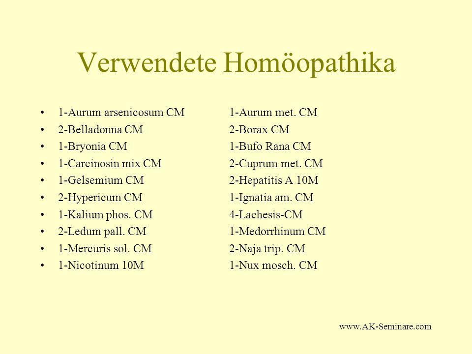 www.AK-Seminare.com Verwendete Homöopathika 1-Aurum arsenicosum CM1-Aurum met. CM 2-Belladonna CM2-Borax CM 1-Bryonia CM1-Bufo Rana CM 1-Carcinosin mi