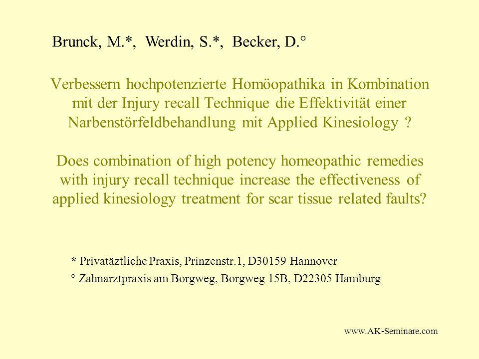 www.AK-Seminare.com Verbessern hochpotenzierte Homöopathika in Kombination mit der Injury recall Technique die Effektivität einer Narbenstörfeldbehand