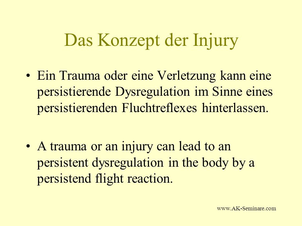 www.AK-Seminare.com Diskussion: Die Injury Recall Technique ist ein wirkungsvolles Instrument in der Störfeldbehandlung The Injury Recall technique is a valuable tool in th treatment of scra induced faults