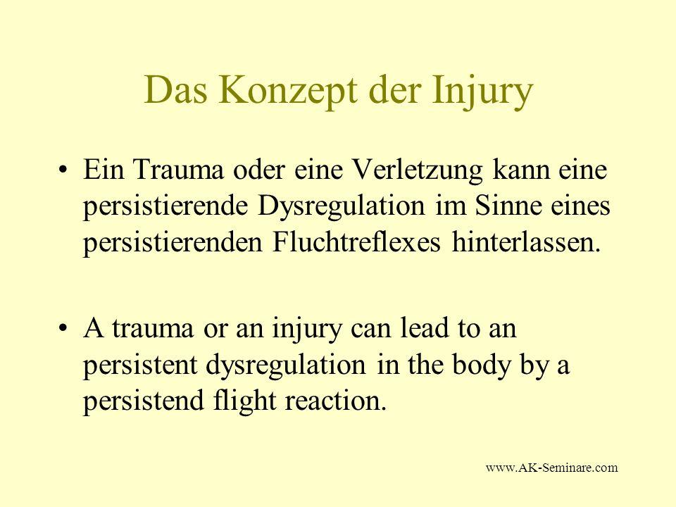 www.AK-Seminare.com Das Konzept der Injury Ein Trauma oder eine Verletzung kann eine persistierende Dysregulation im Sinne eines persistierenden Fluch