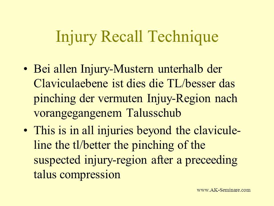 www.AK-Seminare.com Injury Recall Technique Bei vermuteten Injury Regionen oberhalb der Claviculaebene ist dies die TL/besser das pinching der vermuteten Injury-Region in Kombination mit Kopfreklination.