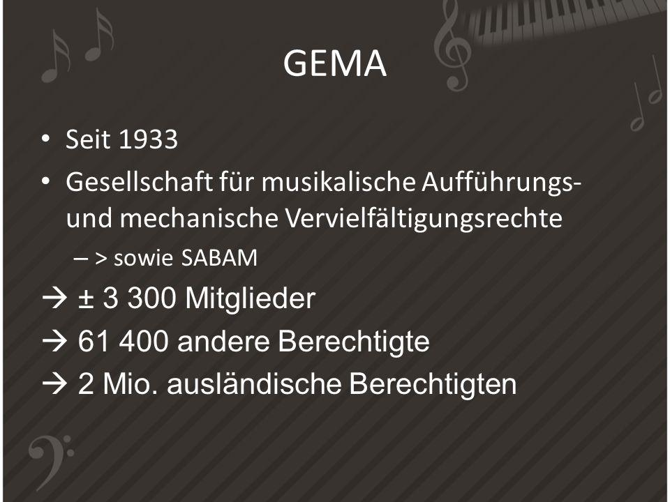 Seit 1933 Gesellschaft für musikalische Aufführungs- und mechanische Vervielfältigungsrechte – > sowie SABAM ± 3 300 Mitglieder 61 400 andere Berechti