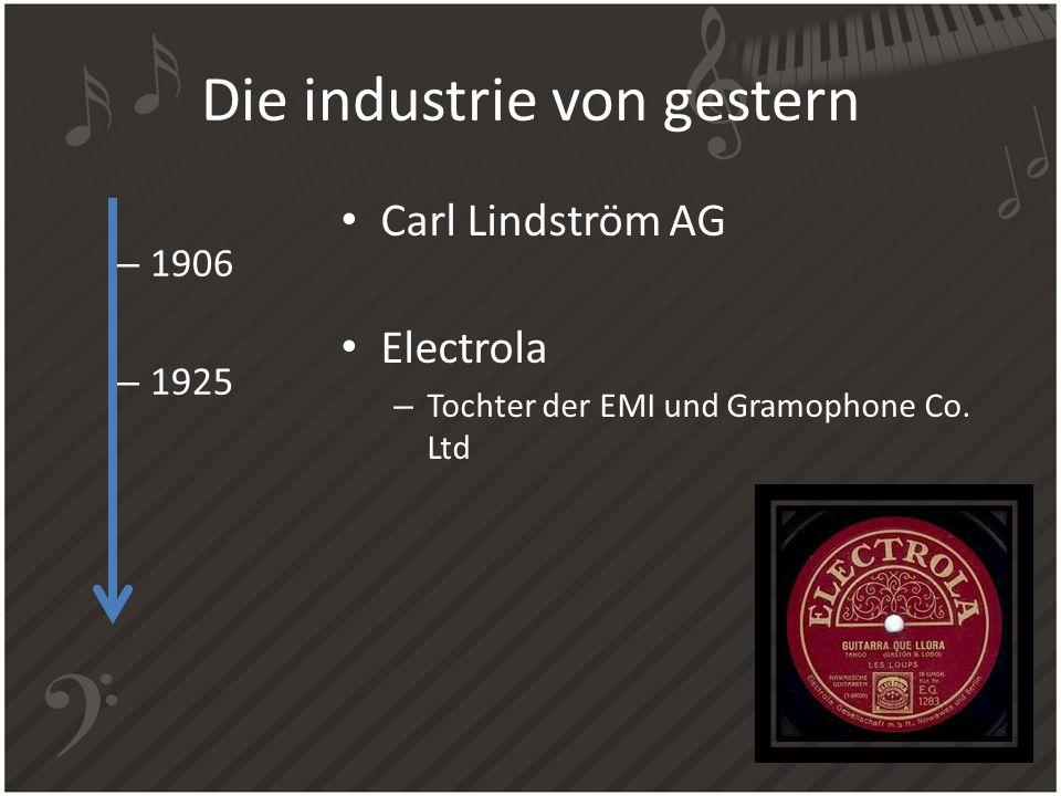 Die industrie von gestern Carl Lindström AG Electrola – Tochter der EMI und Gramophone Co. Ltd – 1906 – 1925