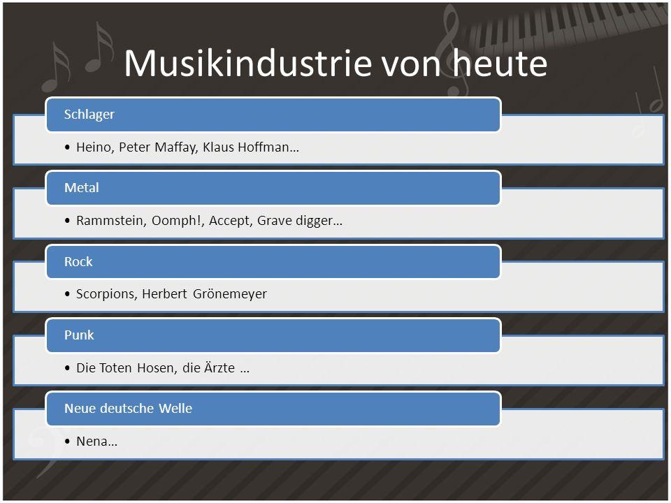 Musikindustrie von heute Heino, Peter Maffay, Klaus Hoffman… Schlager Rammstein, Oomph!, Accept, Grave digger… Metal Scorpions, Herbert Grönemeyer Roc