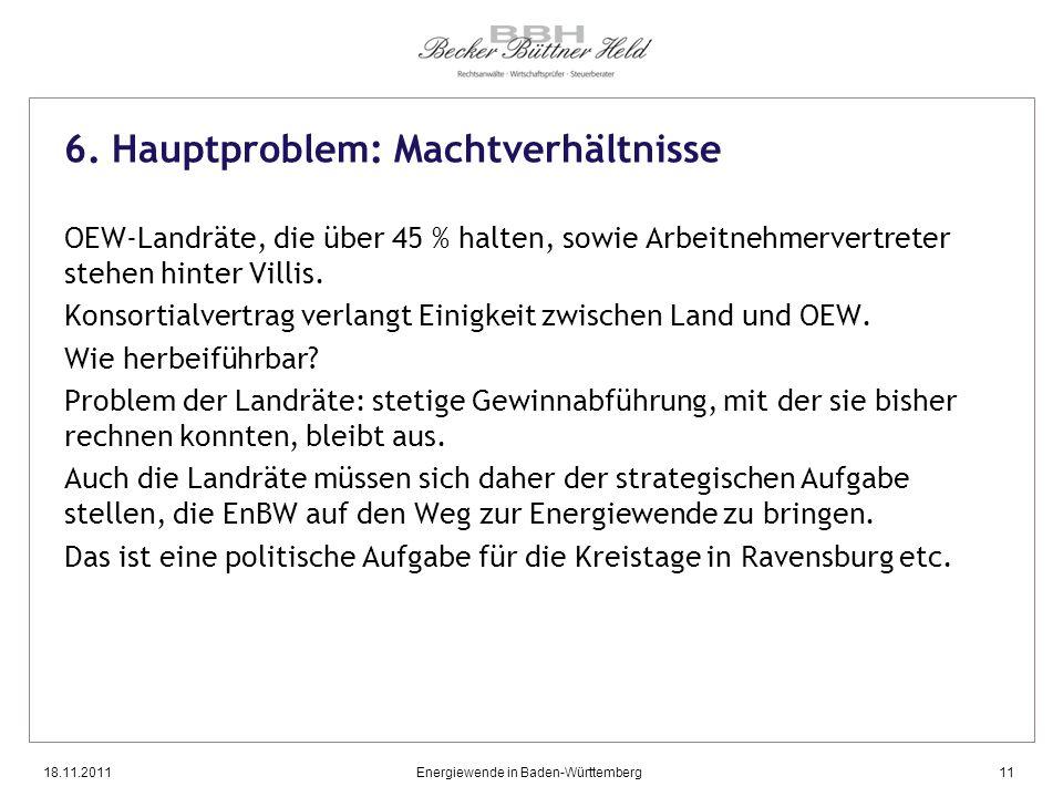 18.11.2011Energiewende in Baden-Württemberg11 6. Hauptproblem: Machtverhältnisse OEW-Landräte, die über 45 % halten, sowie Arbeitnehmervertreter stehe