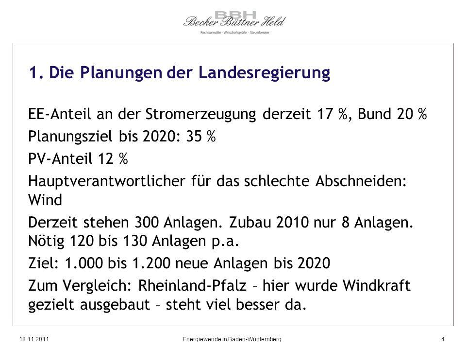 18.11.2011Energiewende in Baden-Württemberg4 1. Die Planungen der Landesregierung EE-Anteil an der Stromerzeugung derzeit 17 %, Bund 20 % Planungsziel