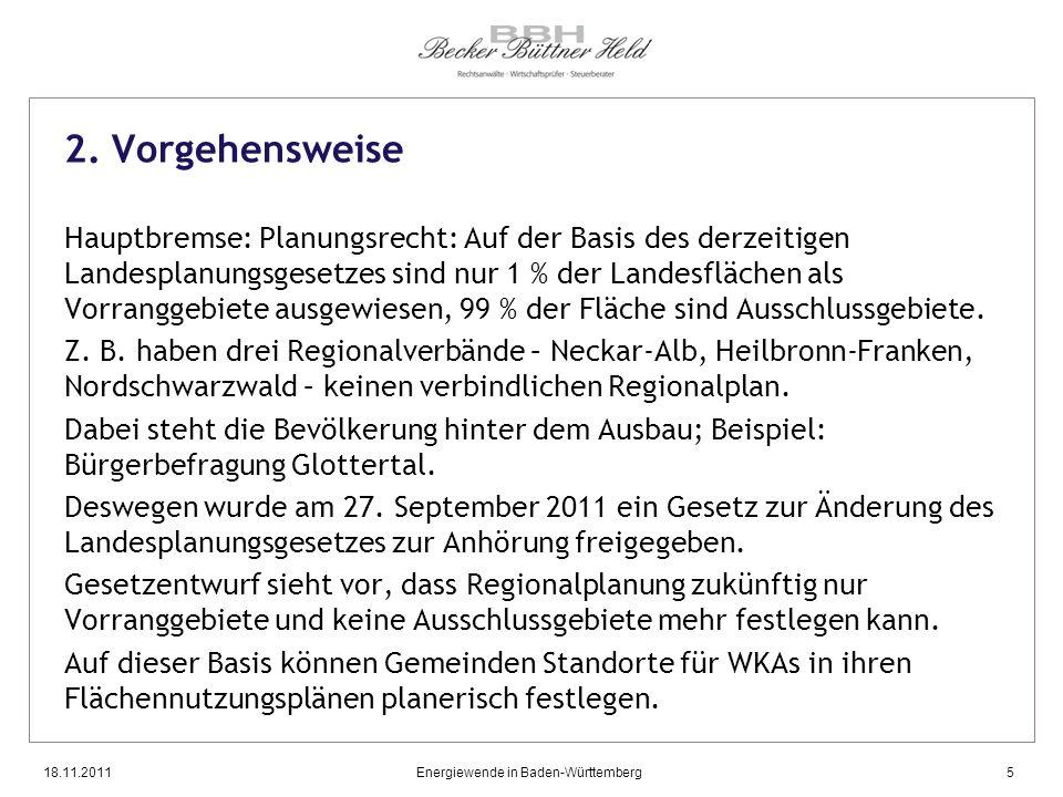 18.11.2011Energiewende in Baden-Württemberg5 2. Vorgehensweise Hauptbremse: Planungsrecht: Auf der Basis des derzeitigen Landesplanungsgesetzes sind n