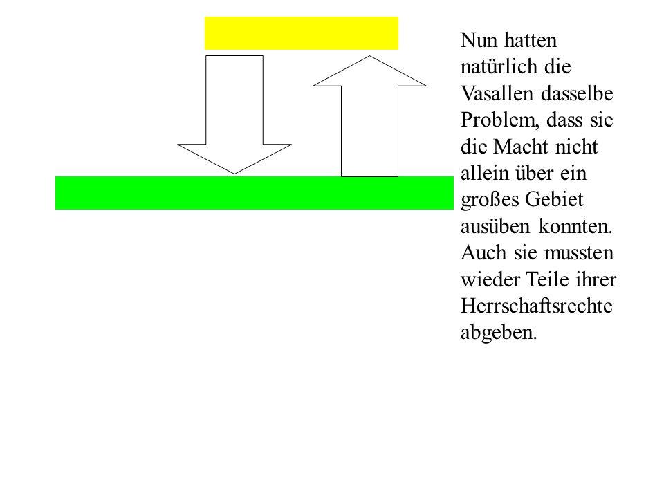 Untervasall 3 Nun hatten natürlich die Vasallen dasselbe Problem, dass sie die Macht nicht allein über ein großes Gebiet ausüben konnten.