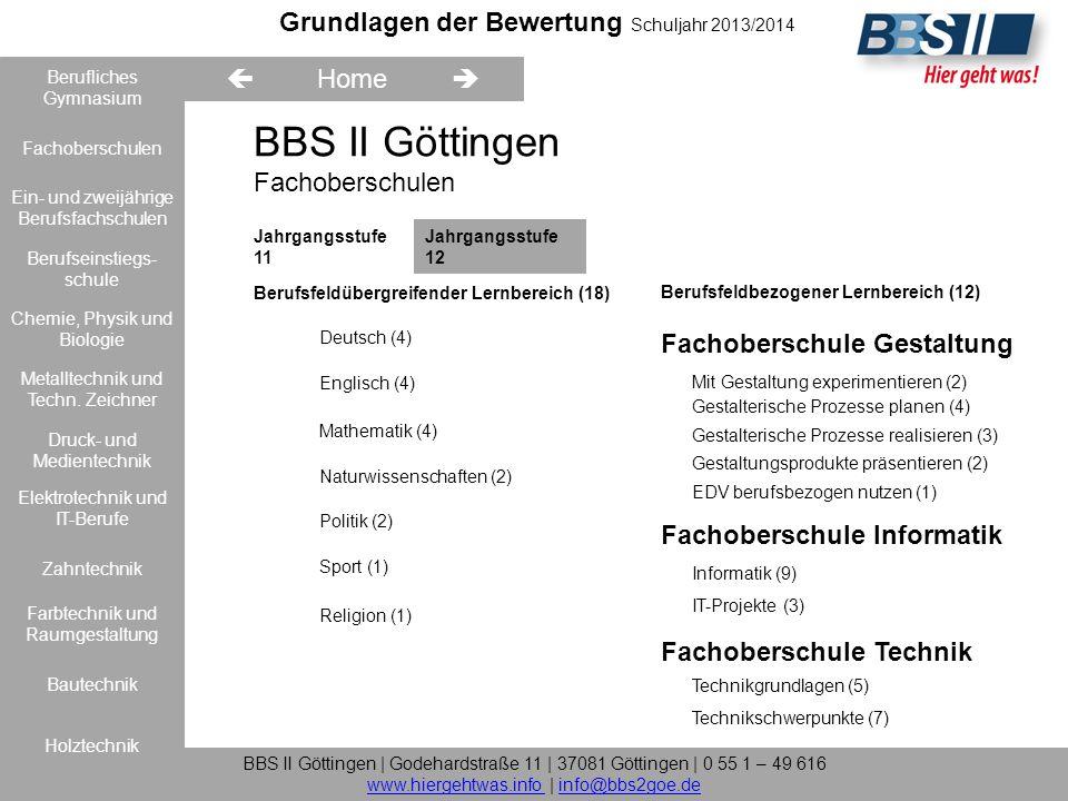 Grundlagen der Bewertung Schuljahr 2013/2014 Berufliches Gymnasium Fachoberschulen Farbtechnik und Raumgestaltung Elektrotechnik und IT-Berufe Bautechnik Metalltechnik und Techn.
