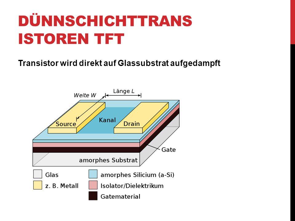 DÜNNSCHICHTTRANS ISTOREN TFT Transistor wird direkt auf Glassubstrat aufgedampft