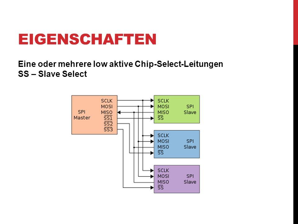 EIGENSCHAFTEN Eine oder mehrere low aktive Chip-Select-Leitungen SS – Slave Select