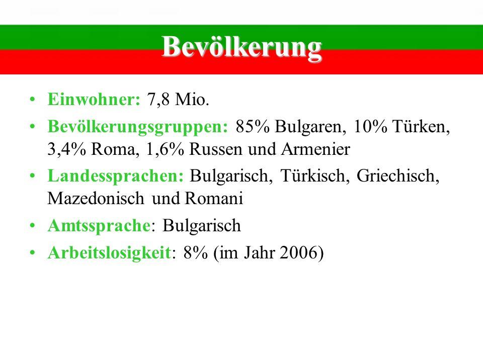 Bevölkerung Einwohner: 7,8 Mio. Bevölkerungsgruppen: 85% Bulgaren, 10% Türken, 3,4% Roma, 1,6% Russen und Armenier Landessprachen: Bulgarisch, Türkisc