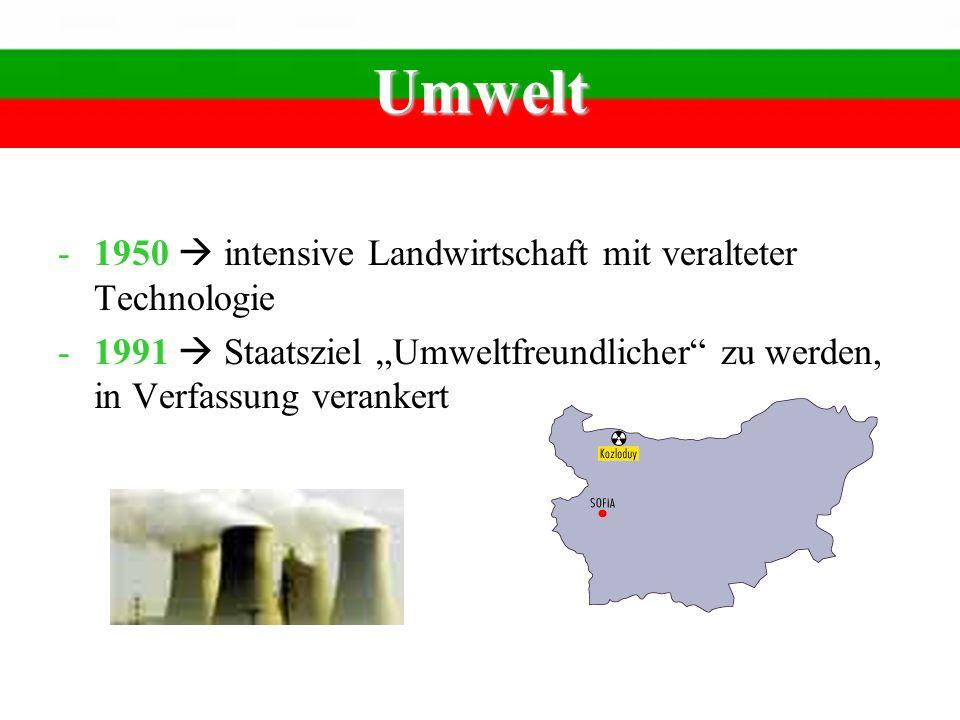 Umwelt -1950 intensive Landwirtschaft mit veralteter Technologie -1991 Staatsziel Umweltfreundlicher zu werden, in Verfassung verankert