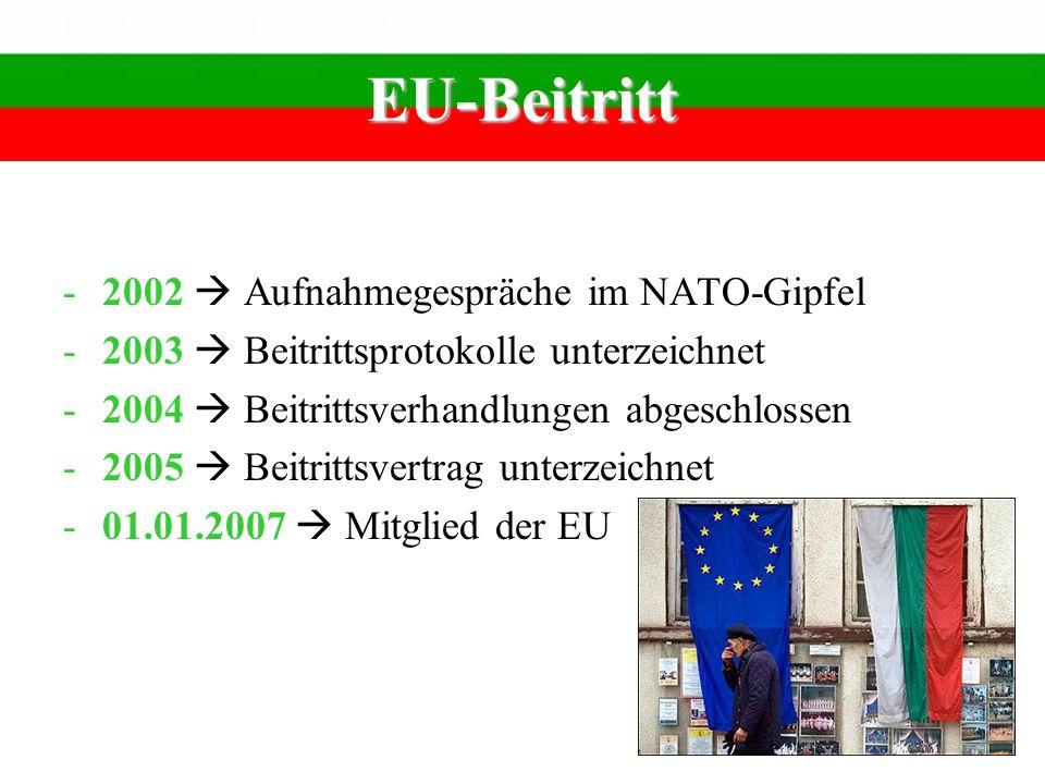 EU-Beitritt -2002 Aufnahmegespräche im NATO-Gipfel -2003 Beitrittsprotokolle unterzeichnet -2004 Beitrittsverhandlungen abgeschlossen -2005 Beitrittsv