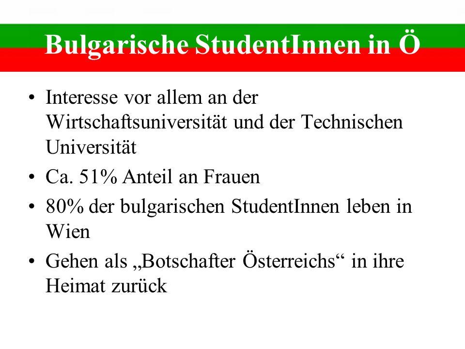 Bulgarische StudentInnen in Ö Interesse vor allem an der Wirtschaftsuniversität und der Technischen Universität Ca. 51% Anteil an Frauen 80% der bulga