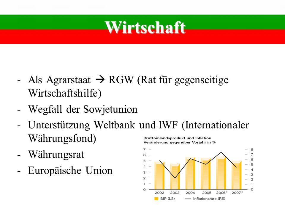 Wirtschaft -Als Agrarstaat RGW (Rat für gegenseitige Wirtschaftshilfe) -Wegfall der Sowjetunion -Unterstützung Weltbank und IWF (Internationaler Währu