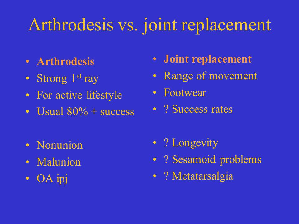 Arthrodesis vs. joint replacement Arthrodesis Strong 1 st ray For active lifestyle Usual 80% + success Nonunion Malunion OA ipj Joint replacement Rang