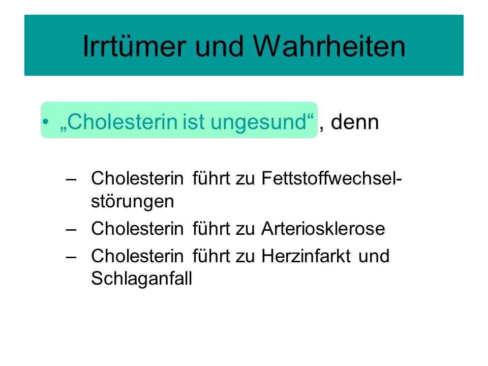 Cholesterin ist ungesund, denn –Cholesterin führt zu Fettstoffwechsel- störungen –Cholesterin führt zu Arteriosklerose –Cholesterin führt zu Herzinfarkt und Schlaganfall Irrtümer und Wahrheiten