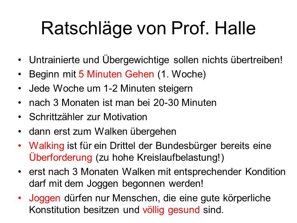 Ratschläge von Prof.Halle Untrainierte und Übergewichtige sollen nichts übertreiben.