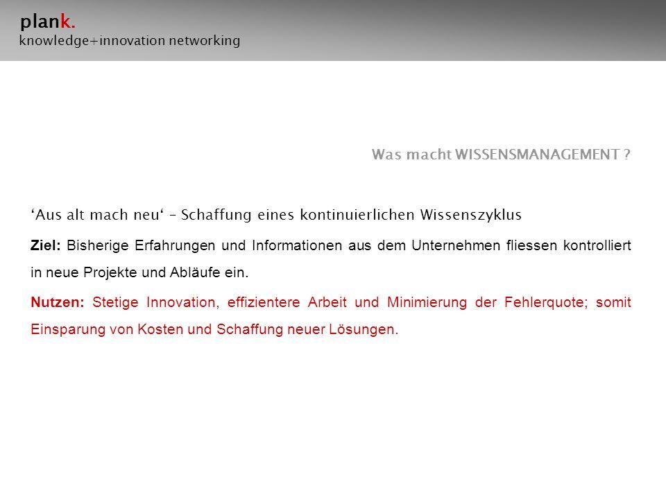 plank.knowledge+innovation networking Was macht WISSENSMANAGEMENT .