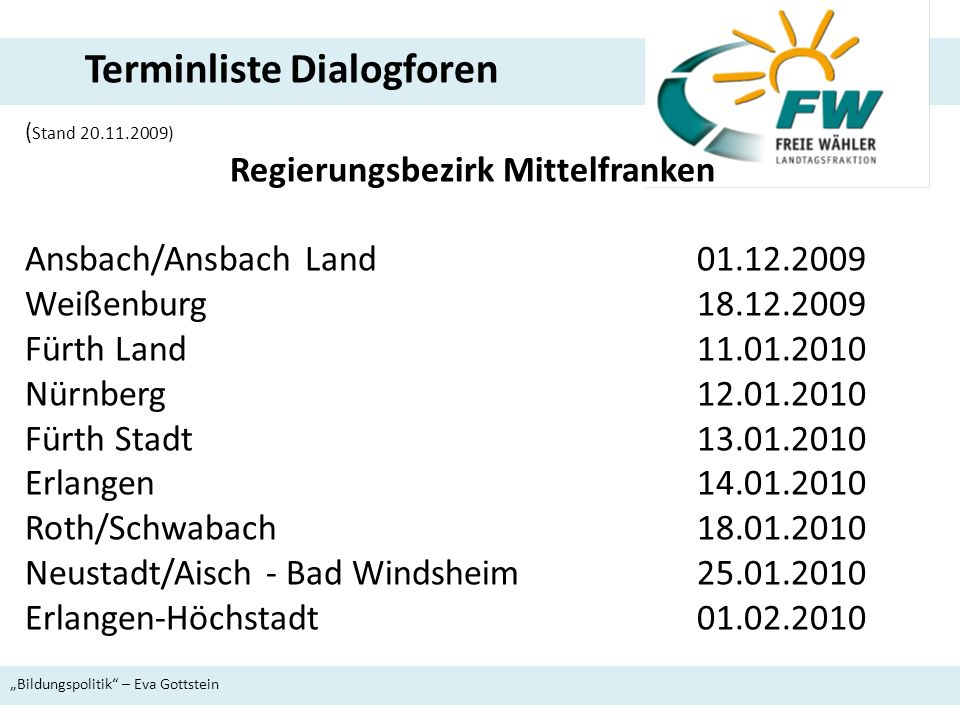 ( Stand 20.11.2009) Regierungsbezirk Mittelfranken Ansbach/Ansbach Land 01.12.2009 Weißenburg18.12.2009 Fürth Land 11.01.2010 Nürnberg 12.01.2010 Fürt