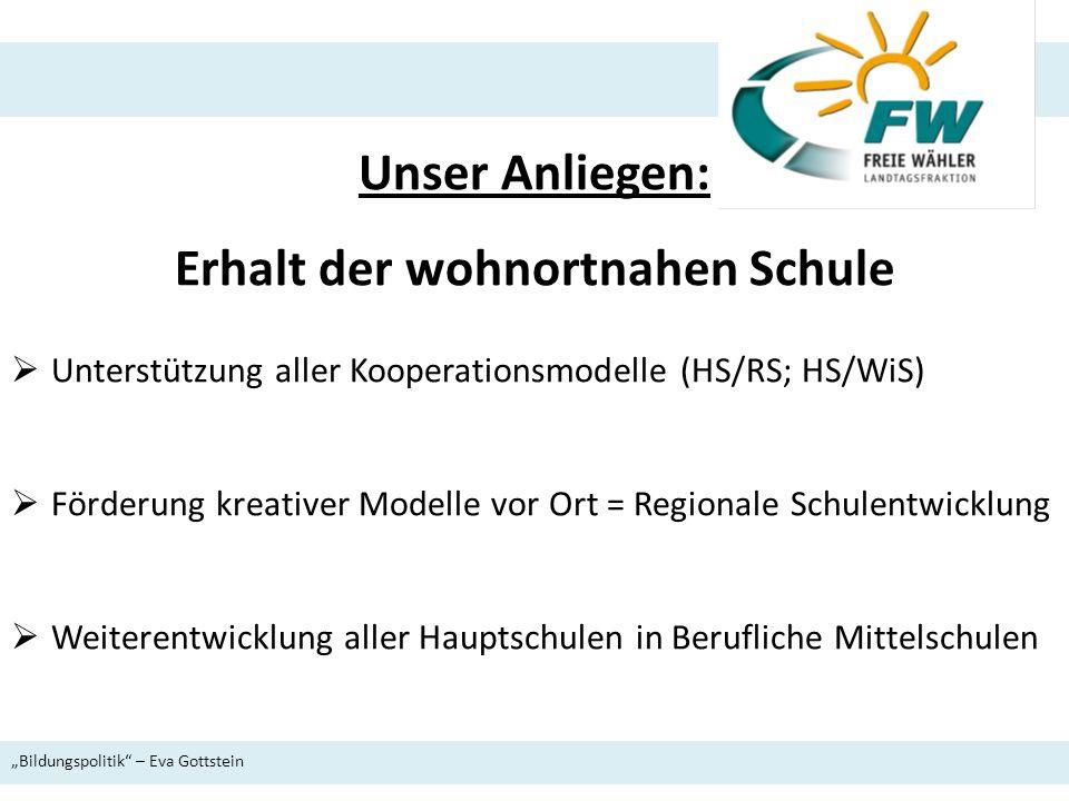 Unser Anliegen: Erhalt der wohnortnahen Schule Unterstützung aller Kooperationsmodelle (HS/RS; HS/WiS) Förderung kreativer Modelle vor Ort = Regionale