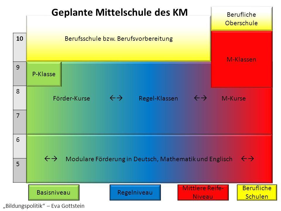 Modulare Förderung in Deutsch, Mathematik und Englisch Förder-Kurse Regel-Klassen M-Kurse M-Klassen P-Klasse 10 9 8 7 6 5 Berufsschule bzw. Berufsvorb