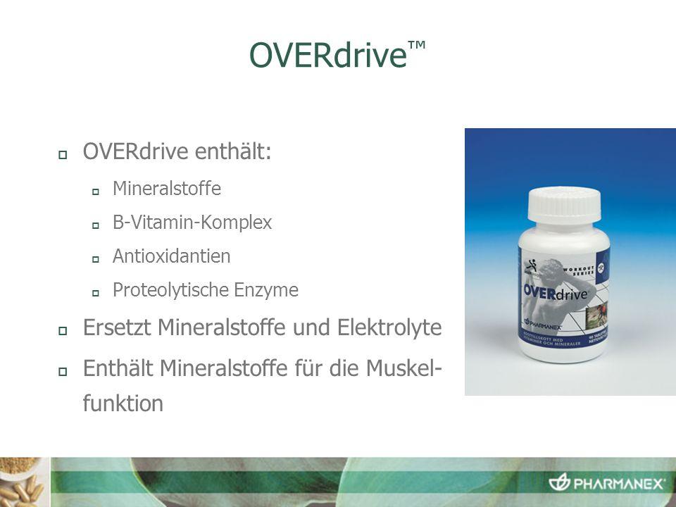 OVERdrive OVERdrive enthält: Mineralstoffe B-Vitamin-Komplex Antioxidantien Proteolytische Enzyme Ersetzt Mineralstoffe und Elektrolyte Enthält Mineralstoffe für die Muskel- funktion
