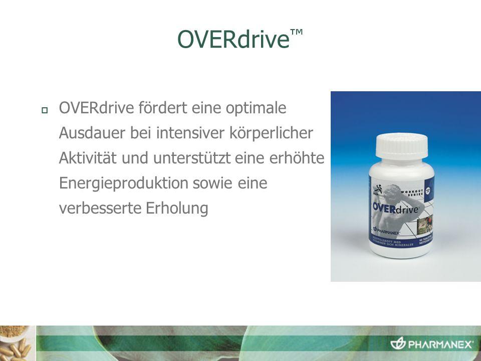OVERdrive fördert eine optimale Ausdauer bei intensiver körperlicher Aktivität und unterstützt eine erhöhte Energieproduktion sowie eine verbesserte Erholung
